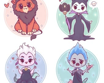 "Kawaii Villains Stickers and/or Prints 6x6"", Ursula, Maleficent, Hades, Scar, Dr, Facilier, Gaston, Cruella De Vil."