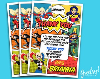 Dc Superhero Girls Thank You Card, Dc Superhero Girls Thank You, Dc Superhero Girls Party, Dc Superhero Girls Birthday, Dc Superhero Girls