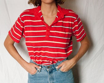 Vintage Jantzen Striped Polo Shirt