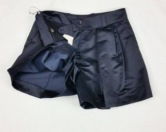 CELINE Vintage Pleated Front Silk Mix Shorts (UK 8)