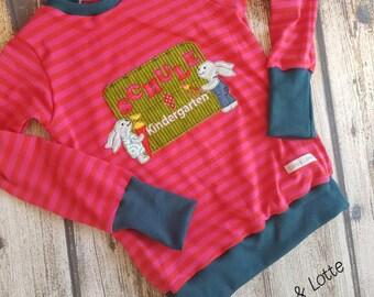 Nursery school we come Hasenshirt long sleeve shirt, embroidered Gr. 110-134 children shirt, training, Schultüte, pink, pink stripes