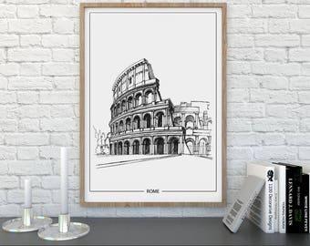 Rome, Architecture Print, Poster, Instant Digital Download, Gift, Christmas Gift, Minimalist, Printable Art, Modern Design