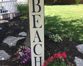 Beach Sign- Large Wooden Beach Sign Weathered Beach Sign Beach House Gift Rustic Beach Sign Wood Beach Sign Nautical Decor Coastal Decor