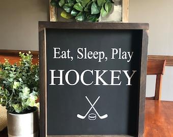 Eat, sleep, play hockey wooden framed sign