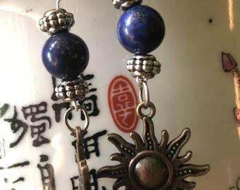 Midnight Sun Earrings. Lapis Lazulli & Sun Charm Earrings