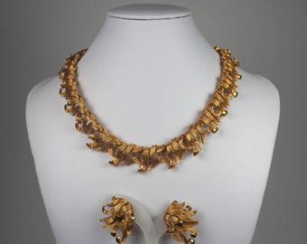 Vintage Jewelry Set-Parure-designer-craft-massive-rays-lace-flames-gold-1960s-Mad Men-Gift