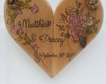 Unique handmade reclaimed wood hanging heart art sign- personalised gift- wall decor