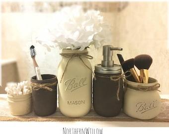 Rustic Bathroom Decor, Mason Jar Bathroom Set, Mason Jar Decor, Bathroom Set, Rustic Decor, Bathroom Storage