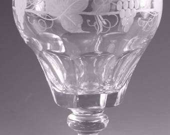 "STUART Crystal - AUDLEY (Fruiting Vine) Cut - Water Glass / Glasses - 4 3/4"""
