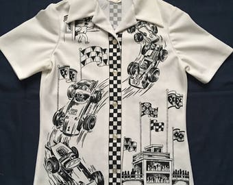 Vintage 70's Formula one women's top- F1-Mod-racing-checkerboard