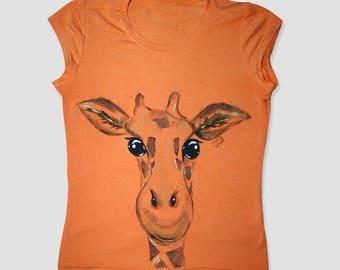 Giraffe, hand painted t shirt, handpainted shirt, animal shirt, animal t shirt, animal tshirt, giraffe shirt, giraffe t shirt, cute t shirts
