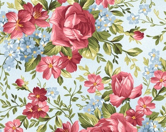 Rose Bouquets - Roses on the Vine by Marti Michell for Maywood Studio - Floral Fabrics - Roses on the Vine Fabrics - Marti Michell Fabrics
