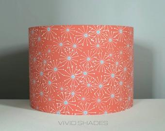 Atomic fabric lampshade handmade by vivid shades, modern retro, stylish atomic sunburst, for ceiling pendant or lamp base pink
