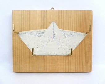 Key hanger origami boat