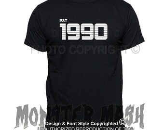 1990 Birth Date T-Shirt | Birthday t shirt | Custom Clothing Retro Style , 90's clothing, 80's clothing. Unisex