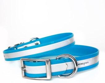Blue Reflective Waterproof Dog Collar - Reflective Waterproof Blue Dog Collar - Smell Resistant Blue Dog Collar - Smell Proof Dog Collar