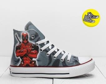 Deadpool grey custom painted converse sneakers Marvel movie shoes