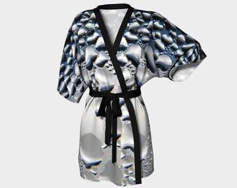 Silver Condensation, Kimono Robe, Dressing Gown, Bridesmaid Robe, Coverup, Spa Robe, Swimsuit Coverup, Robe, Chiffon, Silver, Metallic