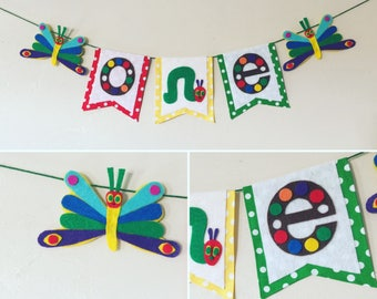 """The very hungry caterpillar butterflies high chair """"ONE"""" 1st birthday banner, first happy birthday party supplies, photo prop banner"""