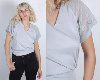 80s Mesh Polo // Vintage Grey Cap Sleeve Top Short Sleeve Womens - Small