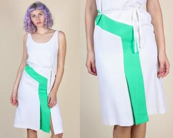 70s Color Block Dress // Vintage Striped Front Slit Knee Length Belted Dress - Medium