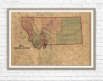 CUSTOM FRAMED Louisiana Map Map of Louisiana Vintage