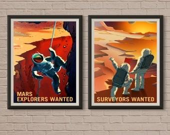 Mars Poster, Set of !Mars, Space Poster, Mars Print, Planet Poster, Space Travel Poster, Mars Travel Poster, Explore Mars, Mars Art Print