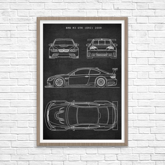 Bmw m3 gtr poster sports car patent bmw blueprint sports like this item malvernweather Image collections