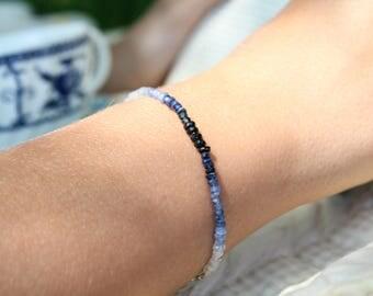Sale, Blue Sapphire Ombre Bracelet, Minimalist Ombre Bracelet, Ombre Jewery, Genuine Sapphire Gemstone, Delicate Bracelet, Minimalist