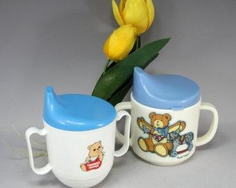 Baby Shower Gift, Susan Winget, Tommee Tippee, Lid, Vintage, Sippy, Cup, Teddy Bear, Melmac, Tommy, Tippy, Toddler, Kid, Kibouki, Playskool