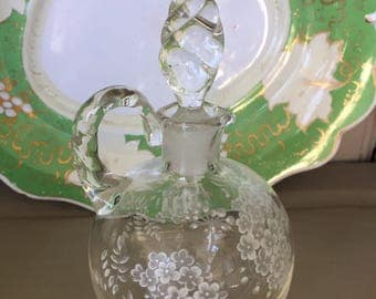 A Vintage Etched Glass Dressing Table or Bathroom Bottle with Stopper