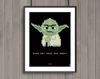 STAR WARS, Yoda, Pixel art movie poster