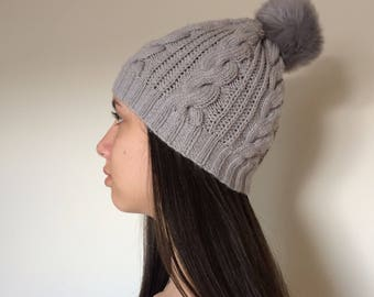 Hand Knit Beanie in Gray... Wool  Hat...Winter Pom Pom Hat...Cable Knit Hat