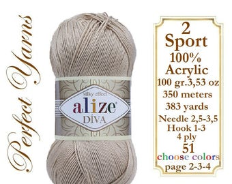 Alize Diva silk effect, Knitting yarn, crochet yarn, lace yarn, acrylic yarn, bikini pattern