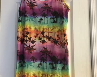Ocean Pacific women's multi color palm trees strappy back, long length shirt, coverup outdoor, summer, beach, Sz Lg