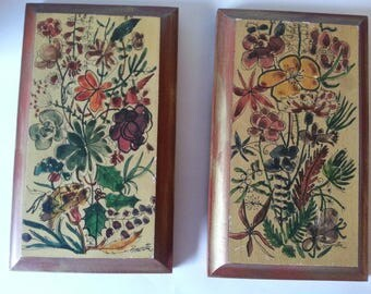 2 wood floral pictures/vintage wood pictures/wall decor/room decor/wood picture/gifts for her/restaurant decor