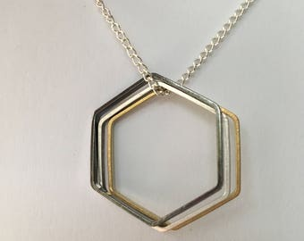 Geo Hexagon Necklace • Hexagon Charms on 22 Inch Silver Plated Chain Necklace • Rose Gold, Brass & Silver Hexagons • Geometric Necklace