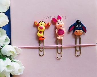 Winnie The Pooh Planner Clips or Bookmarks, Planner Accessories and Decorative Paper Clips, Resin Page Markers, Eeyore, Piglet and Tigger