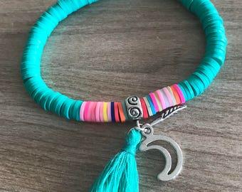Green polymer clay bracelet