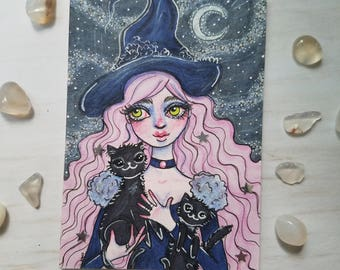 Original Pink Haired Witch with Black Cats Artist Trading Card