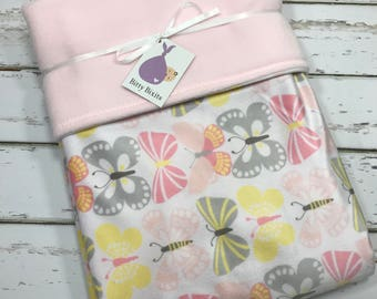 Butterfly Baby blanket butterfly crib blanket Baby girl blanket Baby shower gift girl Minky blanket Girl baby Shower gift Pink Minky Blanket