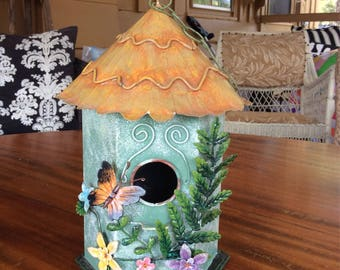 Tin Birdhouse Home Decor