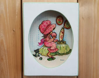 Vintage Girl with Big Hat Holly Hobbie Style 3 Dimensional 3D Paper Wall Art Hanging Litho in USA White & Mint Wood Frame 70s Shabby Chic