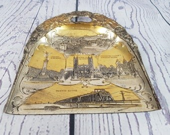 Vintage Montreal Canada Landmarks Metal Decorative Plate Dustpan Shape Wall Trip Souvenir Holiday Gift McGill University Notre Dame Church