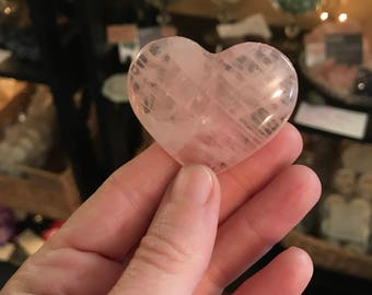 Rose quartz heart, Reiki charged