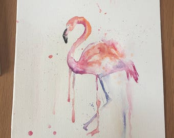Original handmade watercolour flamingo.