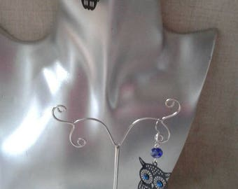"""black and blue OWL"" earrings"