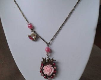 """pretty necklace bronze """"pink and birds"""""""