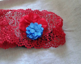 """red lace and two flowers"" headband"