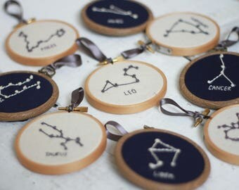 Zodiac 3'' Mini Embroidery Hoop | Constellation Horoscope Zodiac Astrology personalised customised